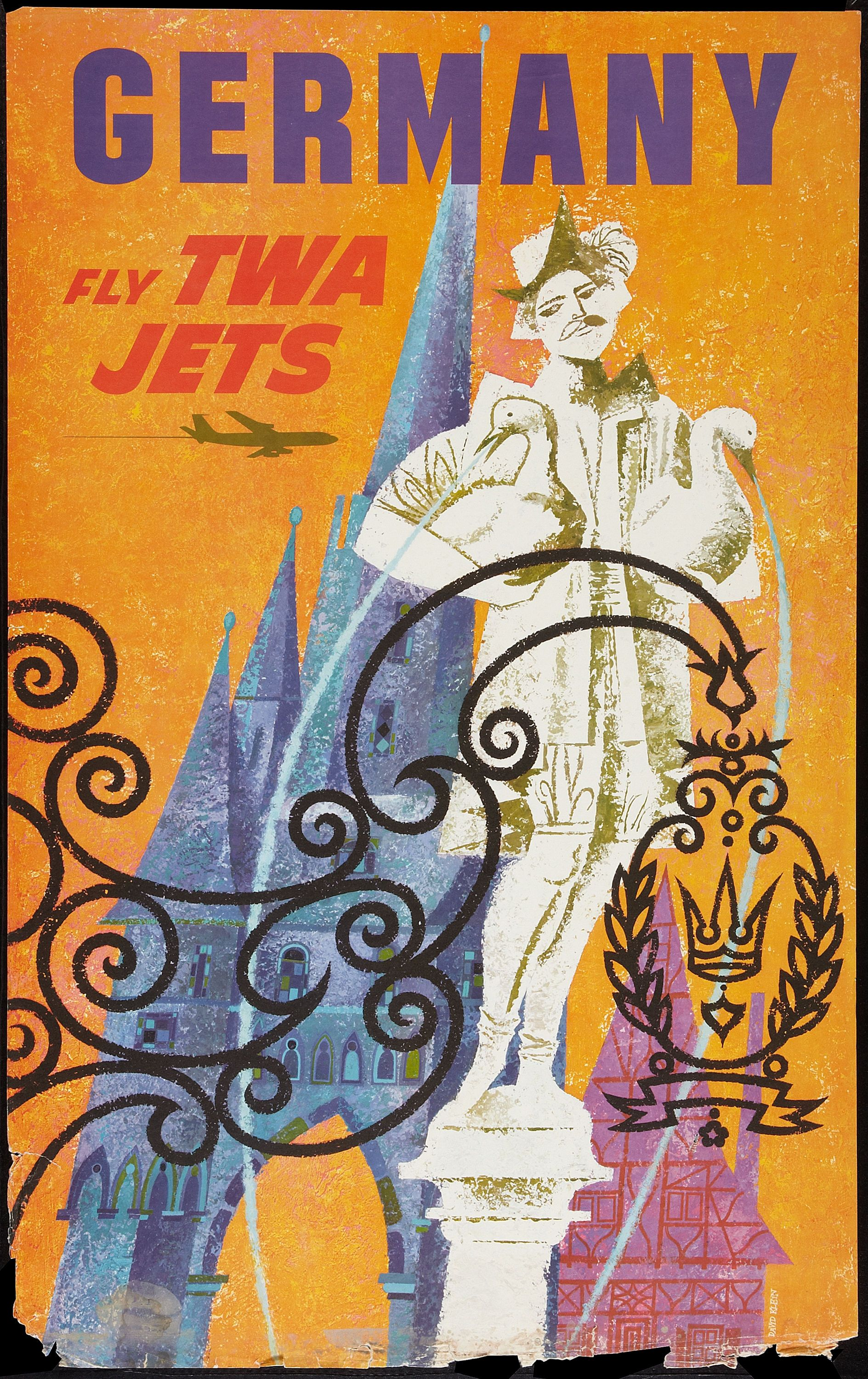 16x24 TWA Visit Rome 1960s Vintage Style Air Travel Poster