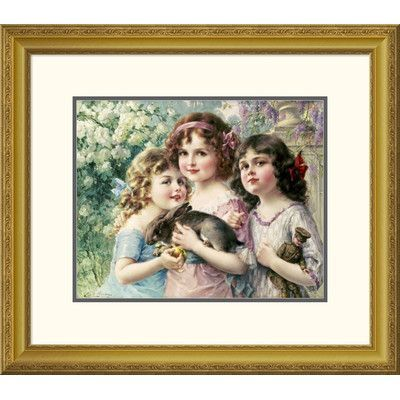 Global Gallery 'The Three Graces' by Emile Vernon Framed Painting Print Size: