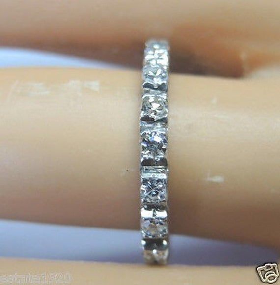 Antique Diamond Platinum Eternity Wedding Band | RET-187