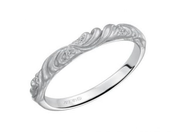 Wedding Band  $575.00 STYLE: 001-110-00474  14K WG Carved Satin Band 0.02 ctw SI2 G/H http://www.theringbygoldgals.com/