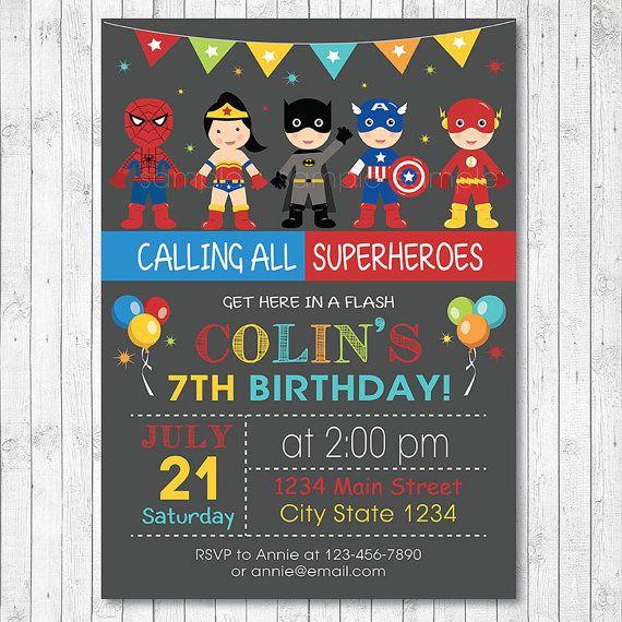 superheroes birthday invitation