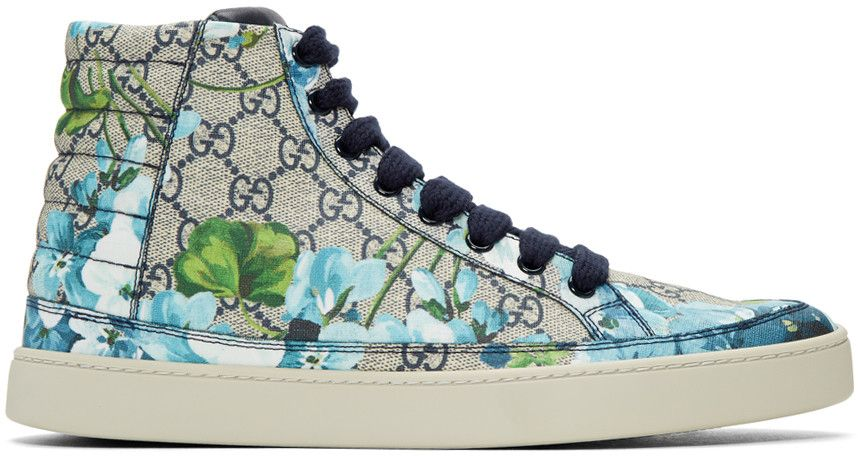 55554a047 GUCCI Beige & Navy Gg Supreme Floral High-Top Sneakers. #gucci #shoes # sneakers