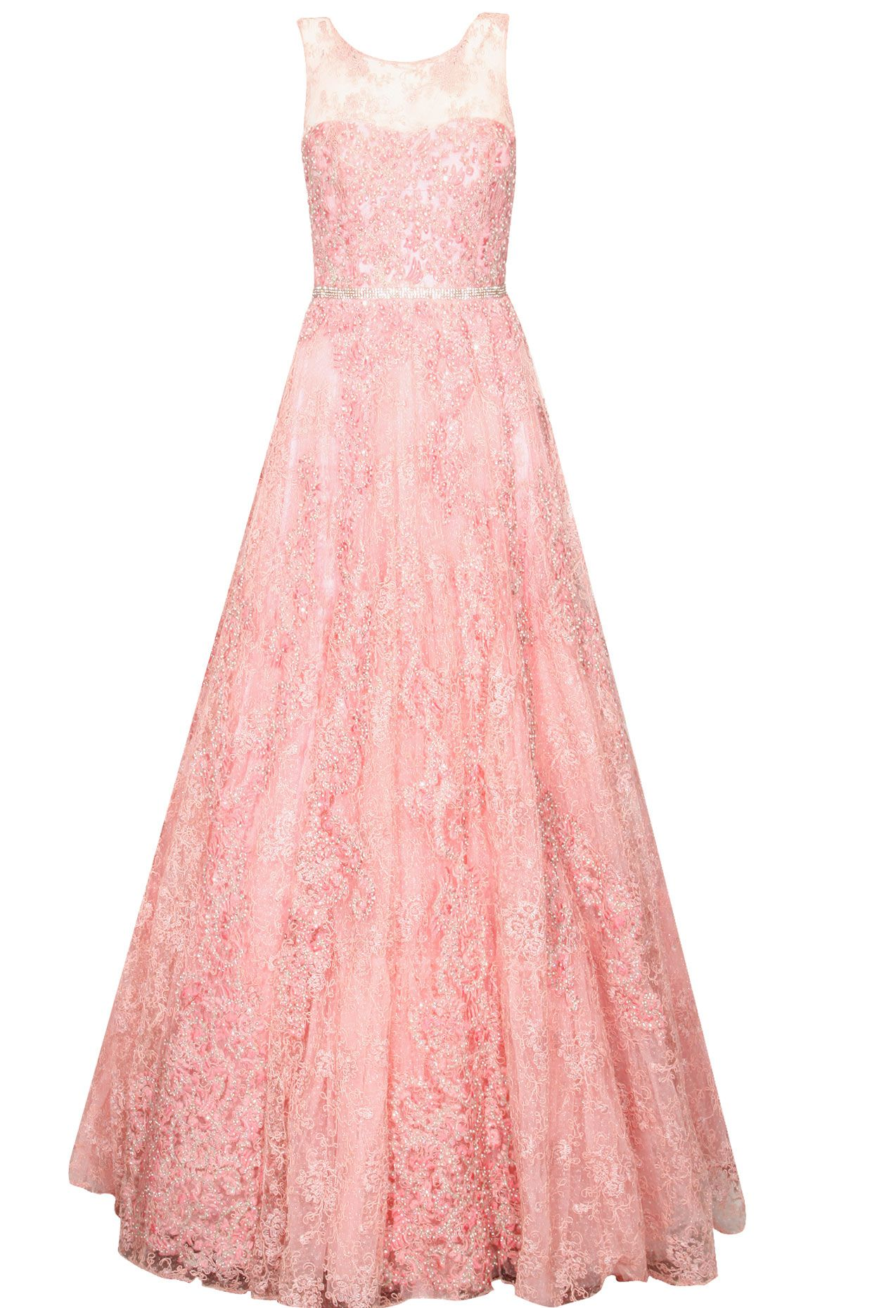 Rose pink floral swaroskovi crystals and pearls embroidered gown