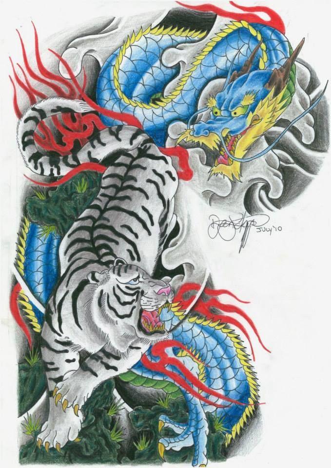 Half Sleeve Tiger And Dragon Tattoo Design Japanese Dragon Tattoos Tiger Tattoo Sleeve Dragon Tiger Tattoo