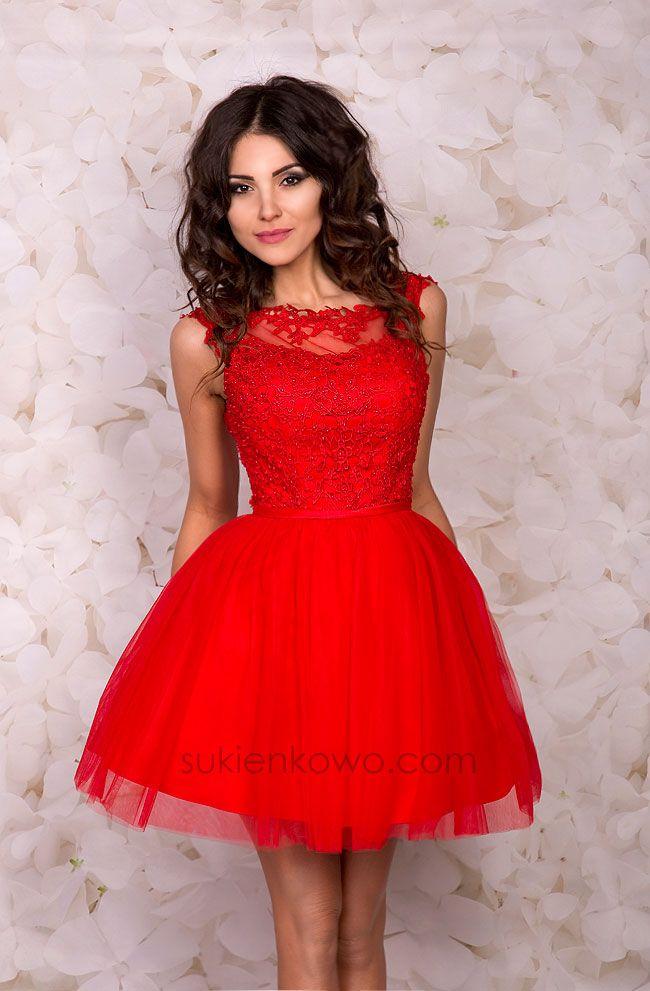 3e03454277 Sukienkowo.pl - NAOMI - Gipiurowo tiulowa rozkloszowana sukienka czerwona