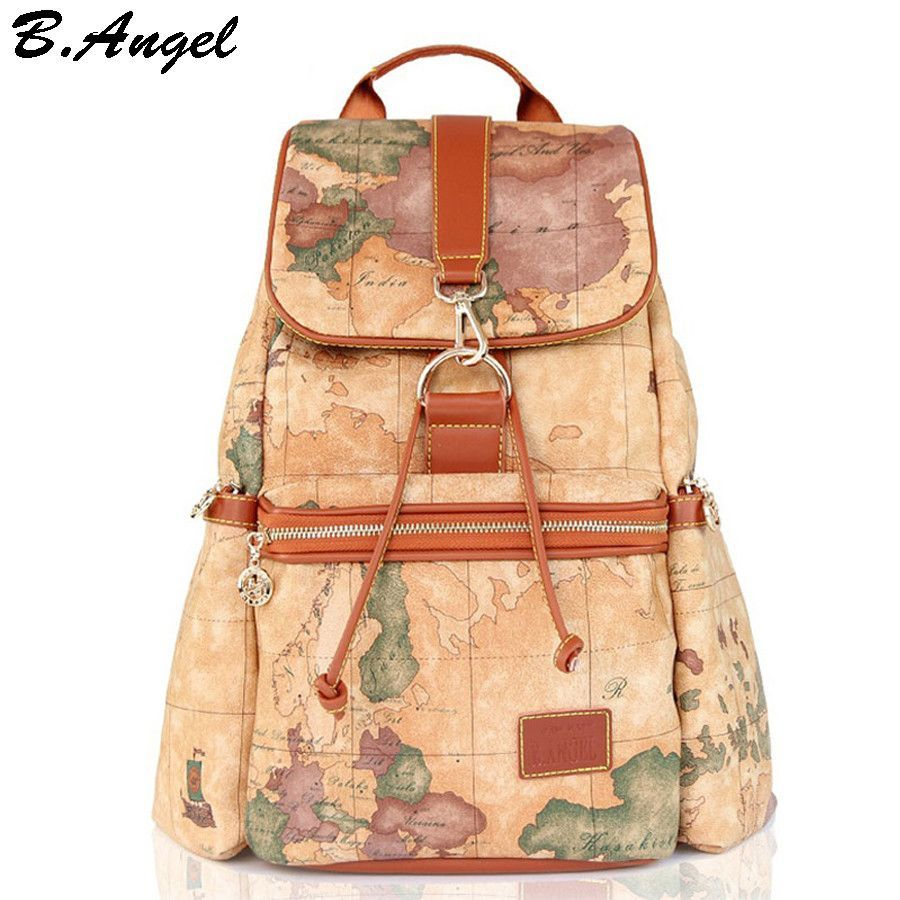 b61be9a7ea Fashion vintage high quality world map backpack women backpack leather  backpack printing backpack -Unisex