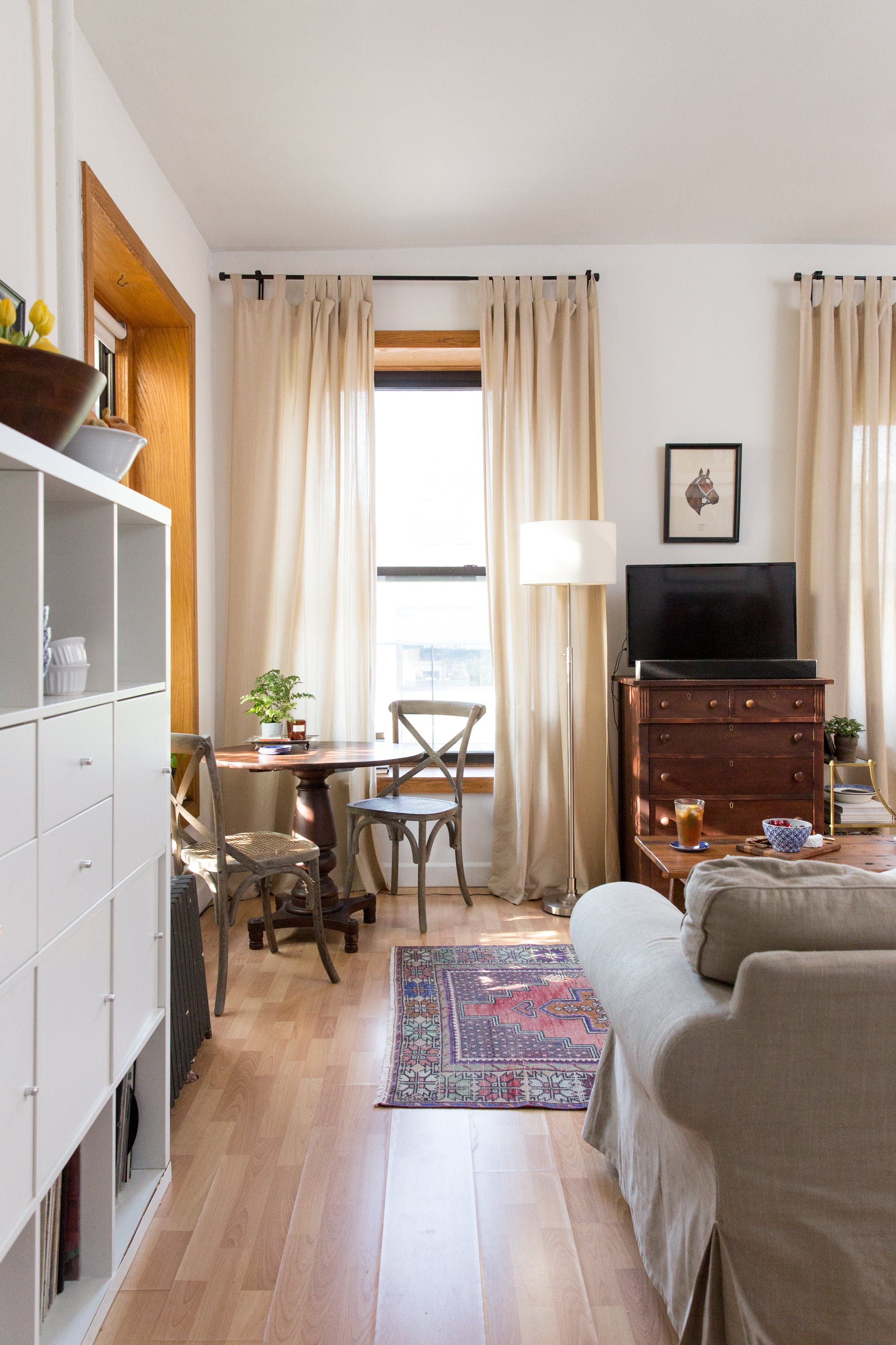 This Small Brooklyn Apartment Excels At Storage Small Apartment Design Brooklyn Apartment Window Treatments Living Room