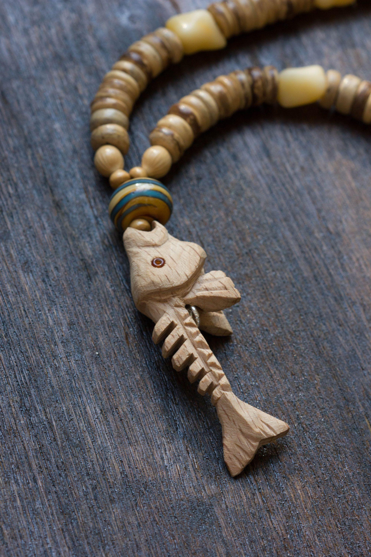 Fish bones carved wood pendant necklace fish necklace for men