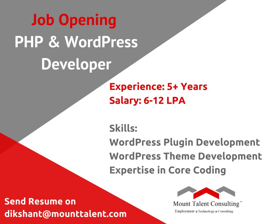 php #developer #job PHP & WordPress Developer Required Experience: 5