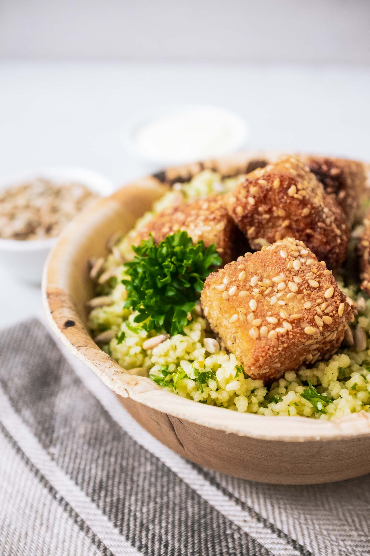 Photo of Lemon couscous with crispy feta cheese, sunflower seeds and natural yoghurt – quick recipes from my kitchen