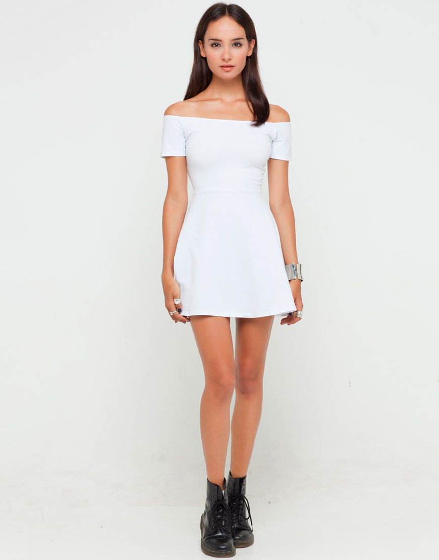 93ec8fd29e Buy Motel Catalina Off The Shoulder Skater Dress In White at Motel ...