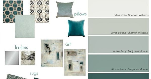Shades of teal paint colors layered with warm gray. Great ...