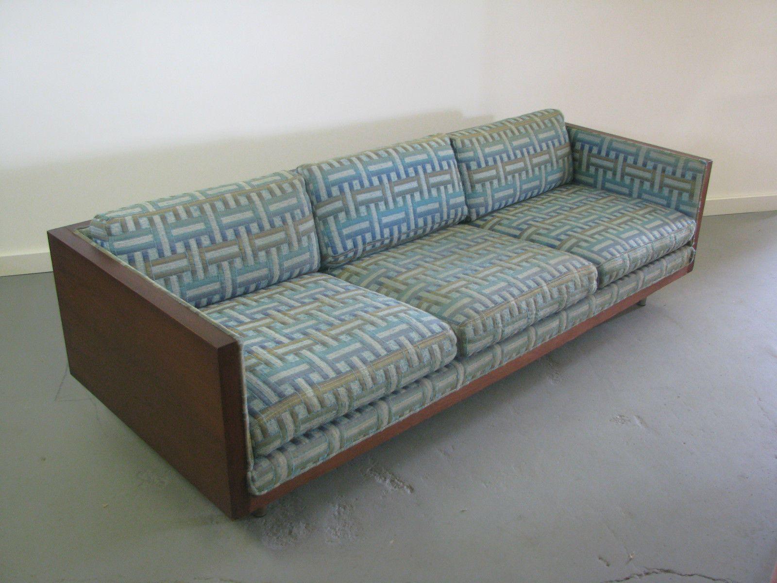 Gorgeous Mid Century Modern Milo Baughman Style Walnut Case Sofa