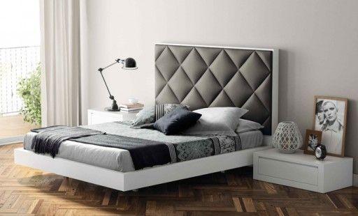 cama tapizada aiko para un espacio sobrio pero muy personal con acabado blanco poro y