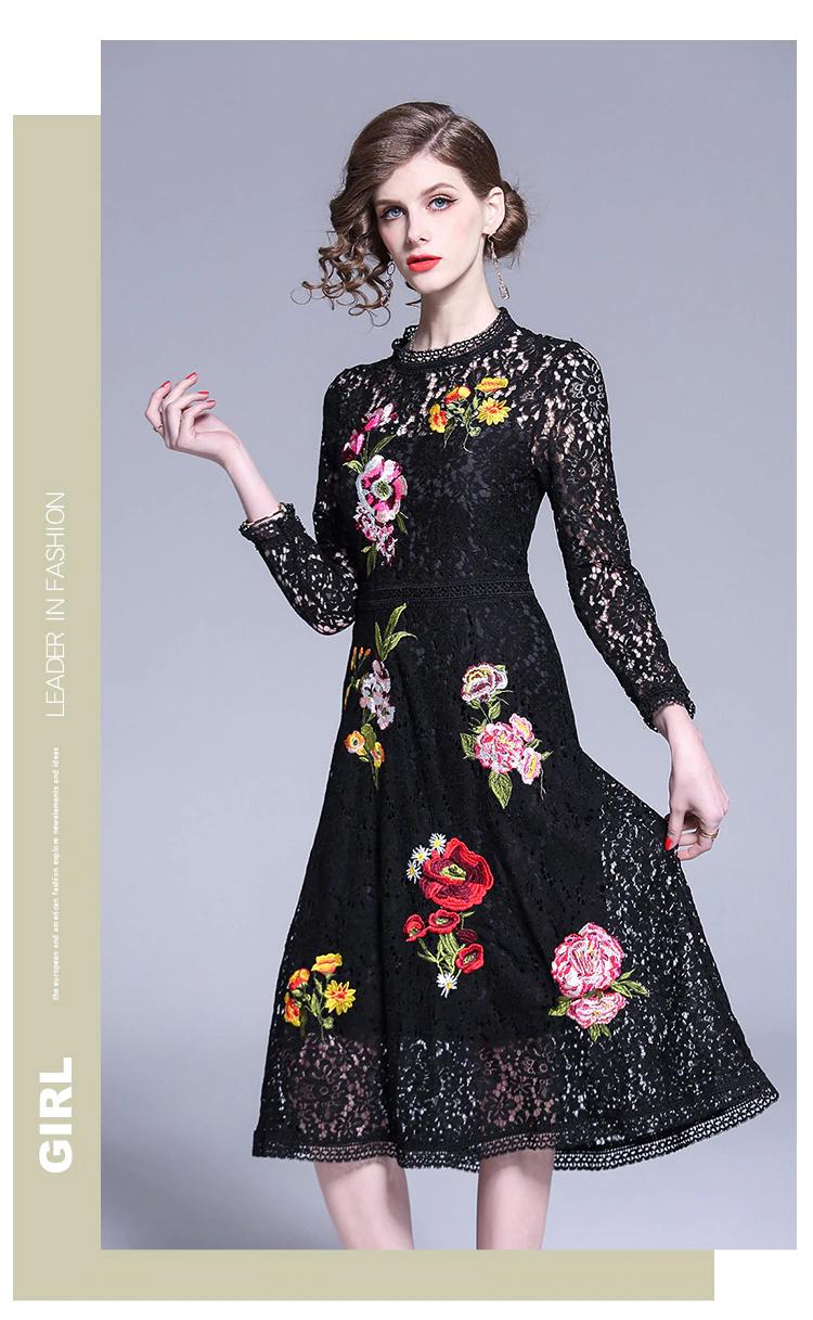 2017 spring fashion women/'s retro embroidery 3//4 sleeve Slim A-line dress Sz@@