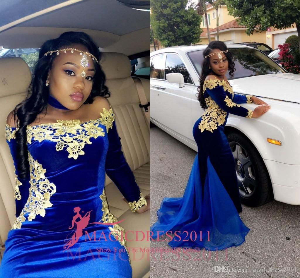 Chic black girl royal blue prom evening dresses with gold