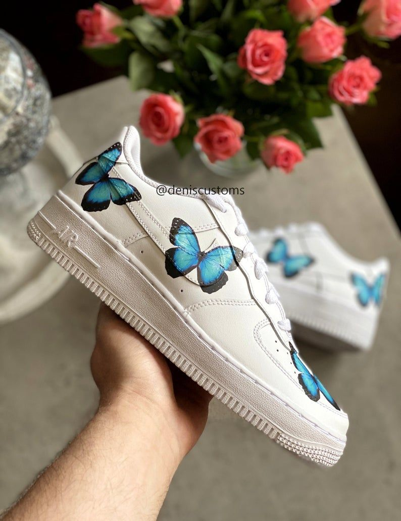 Nike Air Force 1 Butterfly Blue Sneakers Etsy in 2020