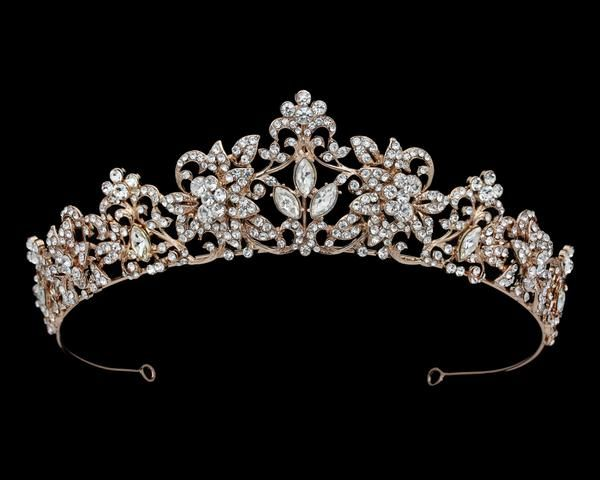 The Leslie Rose Gold Rhinestone Scroll Tiara