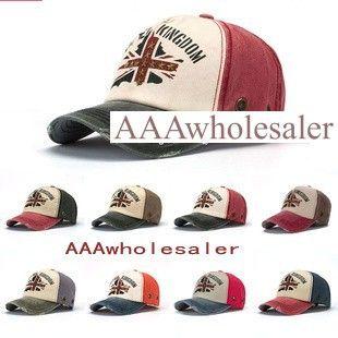AAAwholesaler : Buy New 2014 spring  fashion leisure baseball caps 1pcs 8color men women rivet peaked hats of Union Jack flag Free shipping...