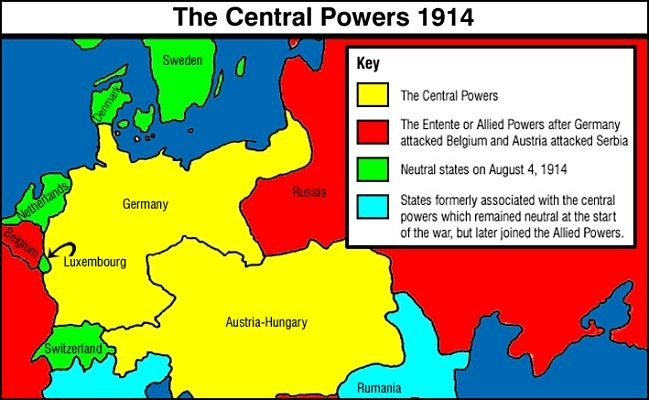 Allied And Central Powers During Ww1 Central Powers Allied Powers World War I