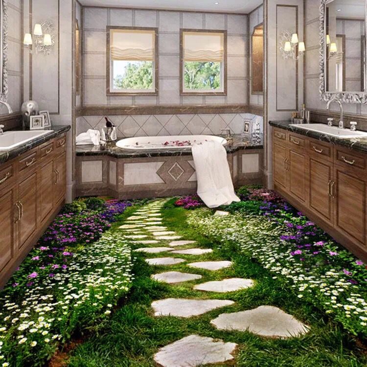 3d ceramic tile floor tile flowers garden 3d tiles for Garden floor design