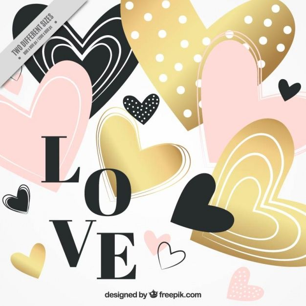 Hearts valentine background with golden details Free Vector