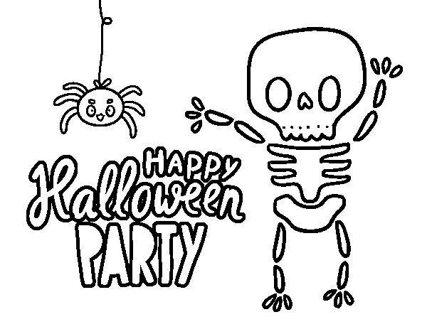 Dibujo de Feliz fiesta de Halloween para Colorear. | Dibujos de