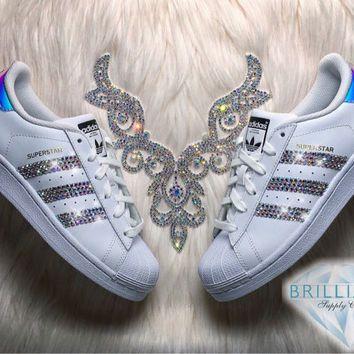 Adidas Superstar Womens Girls Shoes White Metallic Stripes
