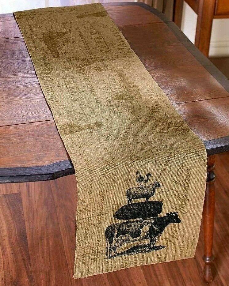 ANIMAL STACK BURLAP TABLE RUNNER Blk Tan Rooster Sheep Pig