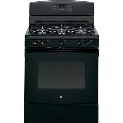 Ge 5 0 Cu Ft Gas Range With Self Cleaning Oven In Black