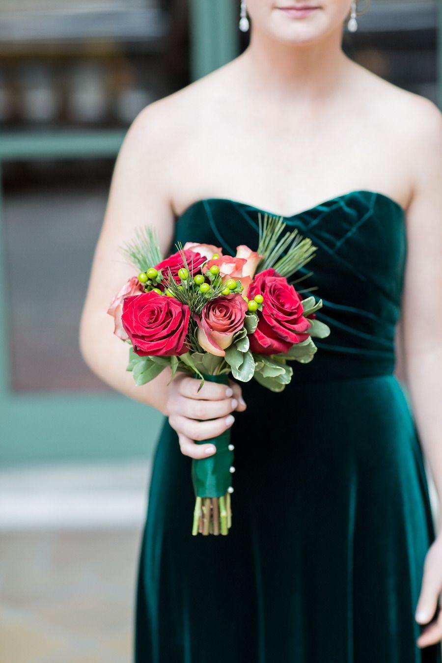 Classic Elegant New York City Winter Wedding Winter Wedding Red Green Bridesmaid Dresses Prom Flowers Bouquet [ 1350 x 900 Pixel ]