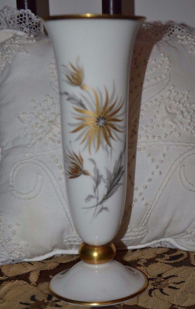 Vintage Lindner Porcelain Bud Vase Kueps Bavaria 79 3 Gold And