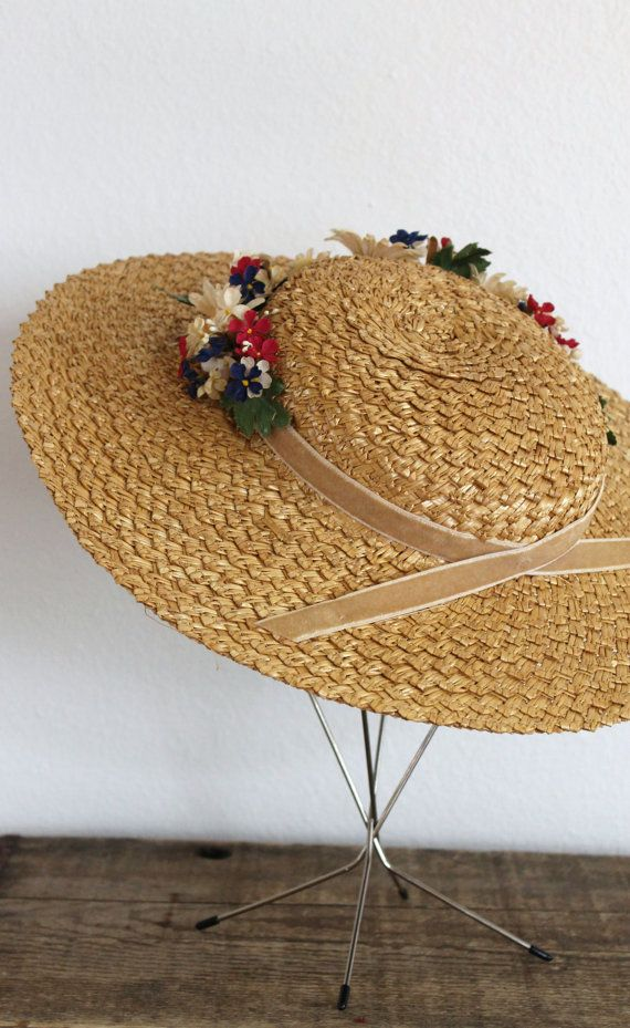 429ab2f1 Vintage 1930s straw hat 30s wide brim straw floral boater hat with ...