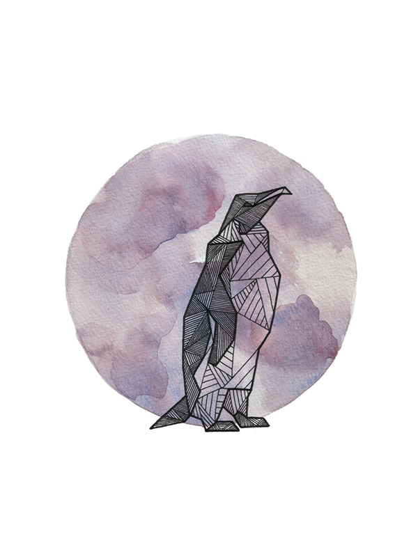 Hand inked geometric animals, laid atop watercolor circles ...