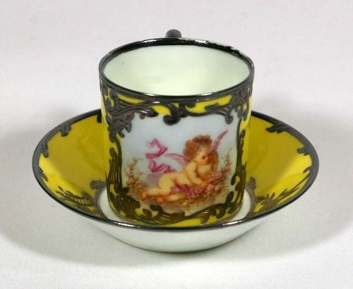 Sevres Style yellow angel bag silver cup and saucer
