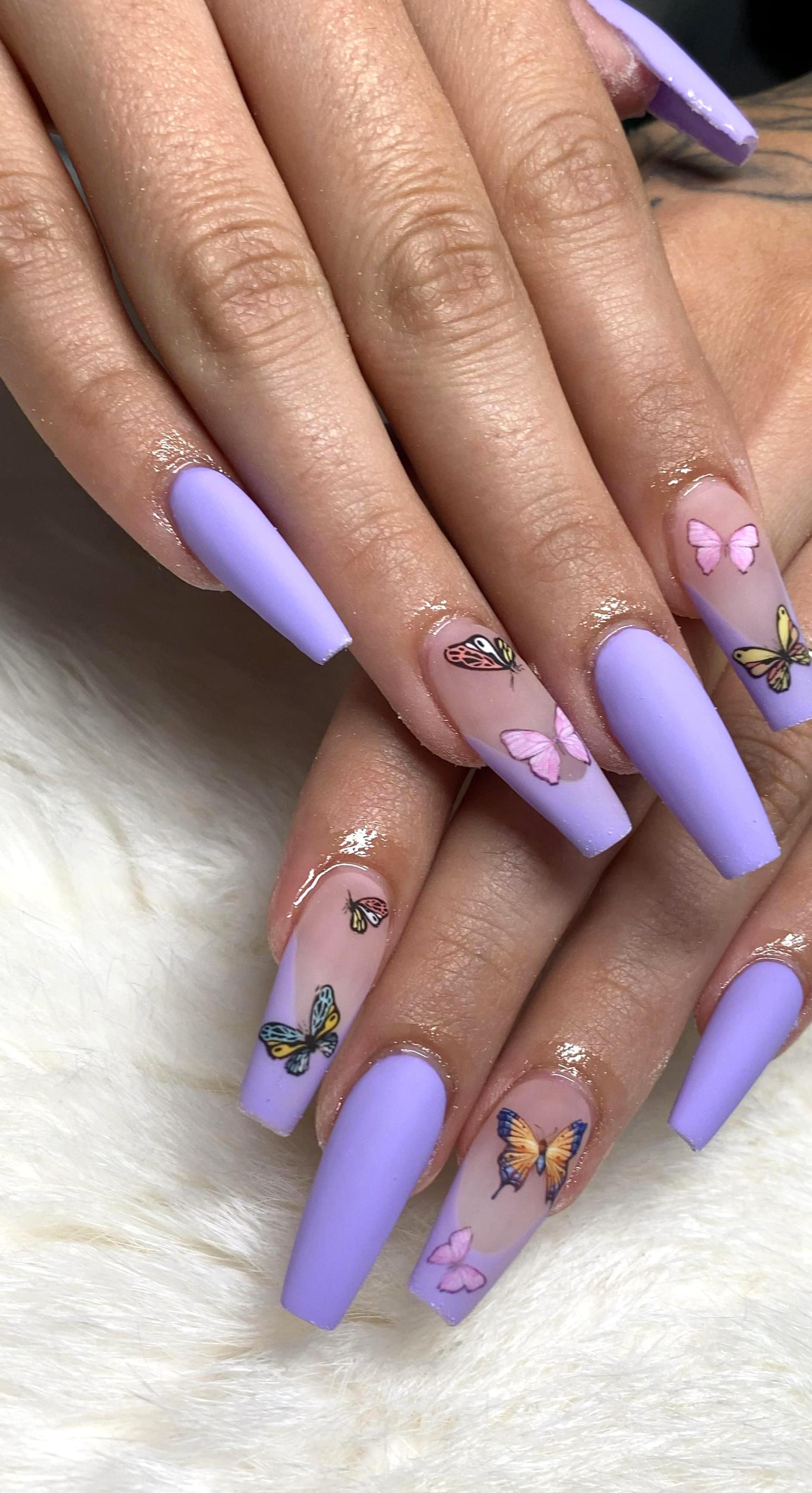 Nail Salon Near Me Nab Nail Bar Butterfly Nails Book Now In 2020 Purple Acrylic Nails Gel Nails Purple Nails
