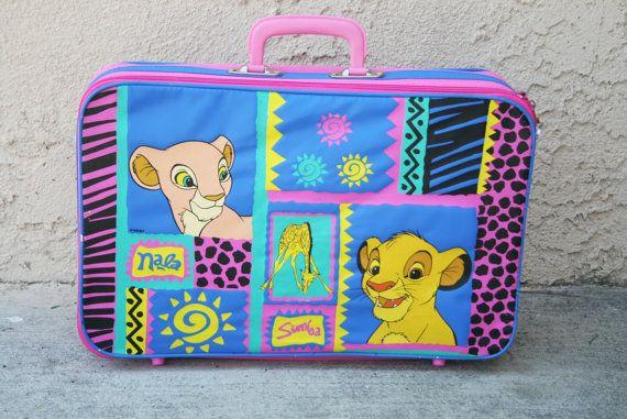 Vintage 1990s Disney's The Lion King Pink Suit Case - Luggage - Simba and Nala Bag