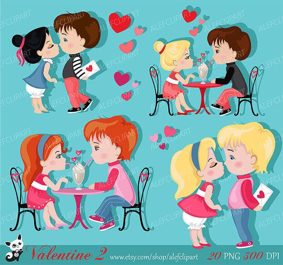 Valentine Kids Clipart 2 My Cute Valentine Digital Clip Art