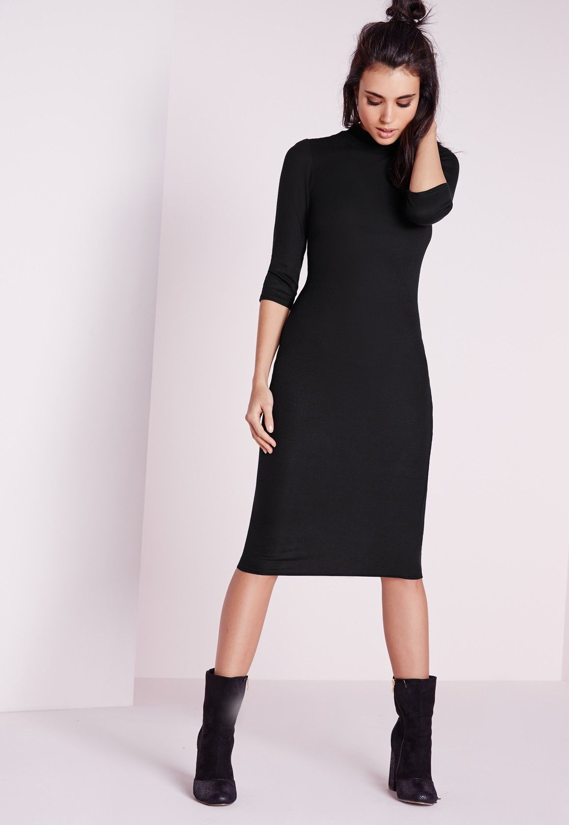 6a7fb832940 Missguided - Ribbed Jersey Roll Neck Midi Dress Black | Inspired ...