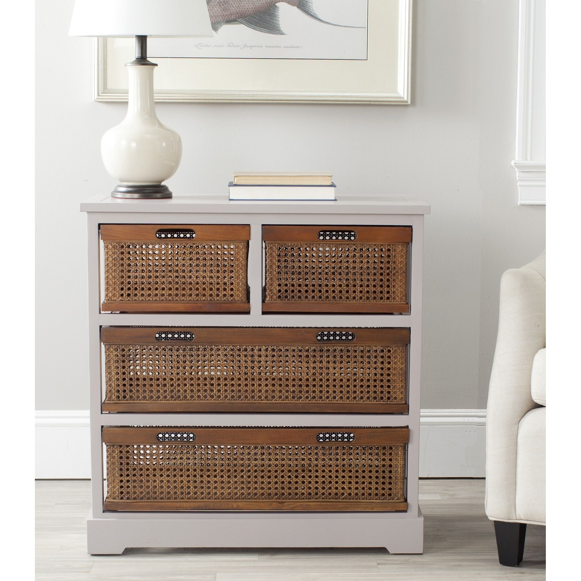 Wicker Basket Cabinet Safavieh Jackson Grey 4 Drawer Wicker Basket Storage Unit By