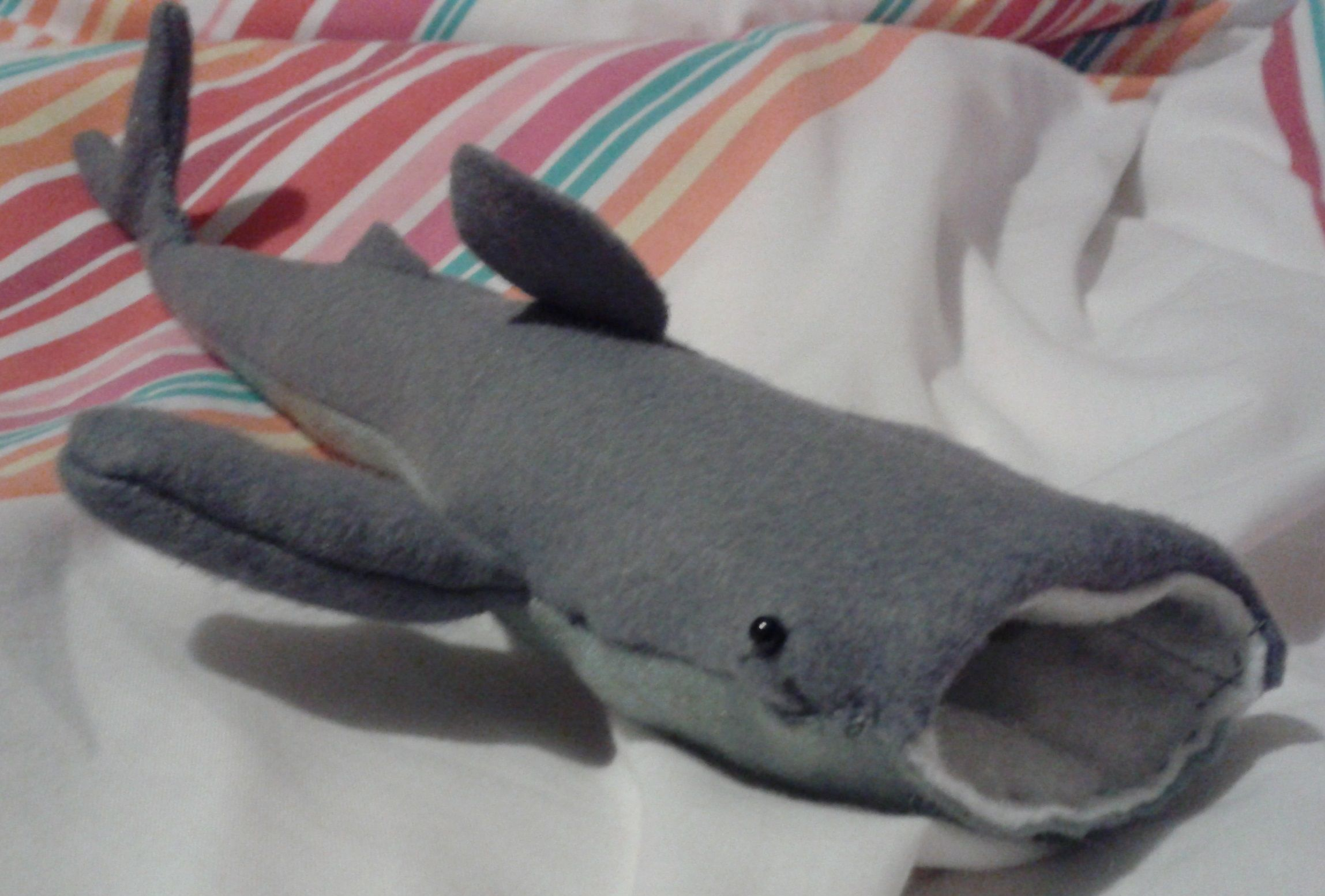 Cuddly Whale Shark Made With Craft Felt 2 Black Beads