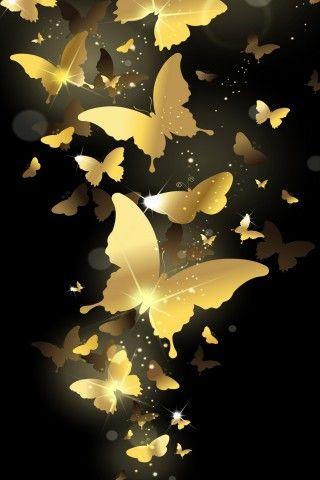 Flying Golden Butterflies Lockscreen Iphone 6 Plus Hd Wallpaper