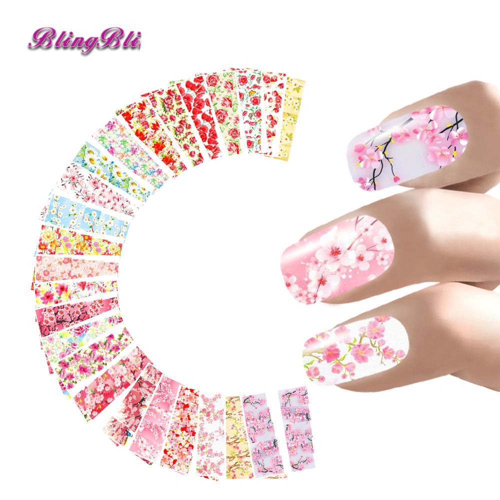 24 Sheets Nail Sticker Blume Wasser Decals Transferfolie Rose ...