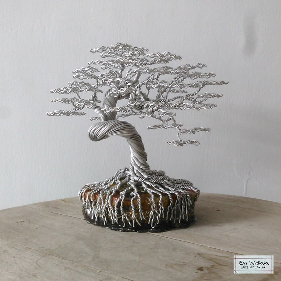 Wire Wrapped Bonsai Minus The Beads Beaded Willow Palm Wiring Seedlings Ornaments Tree Sculpture