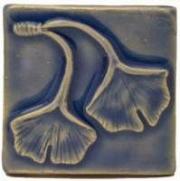 Double Ginkgo Leaf 3x3 Handmade Ceramic Art Tile Watercolor Blue Glaze