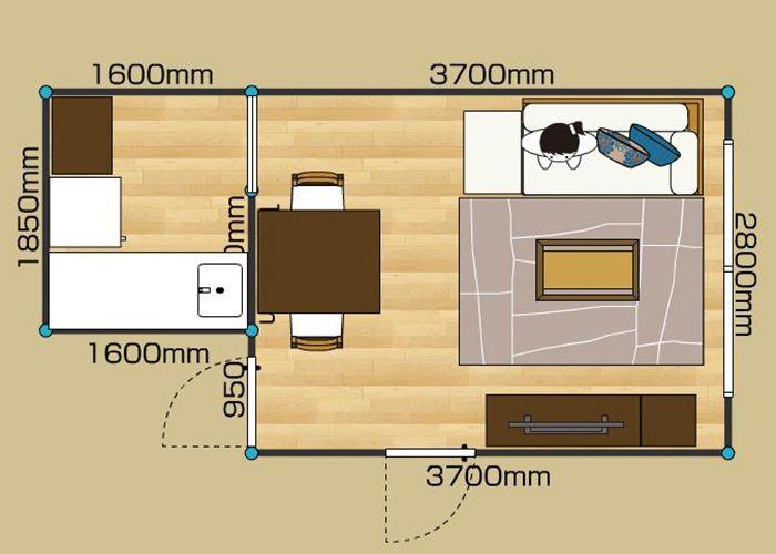 リビングダイニングルーム 1ldk 7畳 2d リビング インテリア リビングダイニング 配置 クローゼット 収納