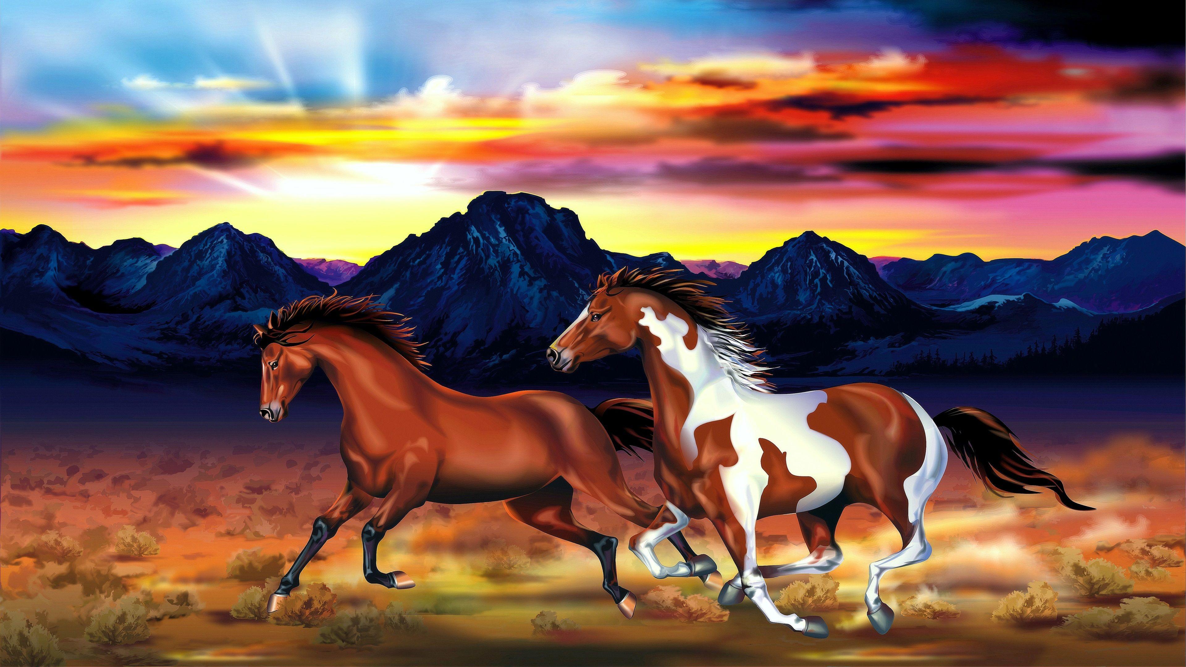 3840x2160 Uhd 4k Hintergrundbilder Deux Chevaux Montagnes Ciel Rouge Coucher De Soleil Dessin D Ar Coucher De Soleil Douche Rustique Peinture Salle De Bain