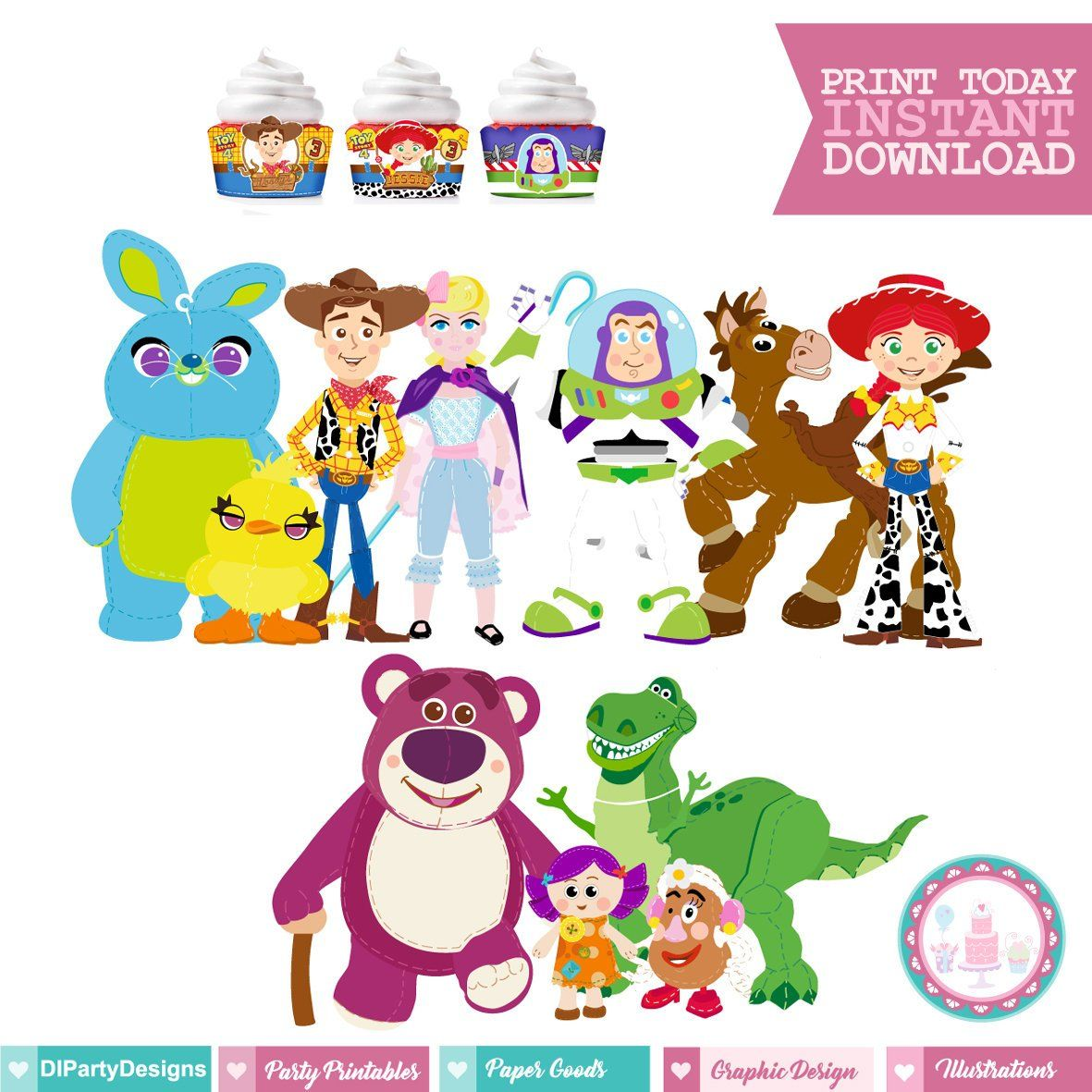 Toy Story 4 Party Kit Instant Download Dibujos Para Colorear