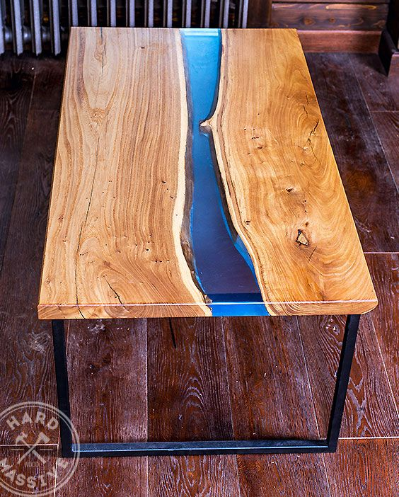 Modern Coffee Table. Solid Wood Elm And Resin With A Blue