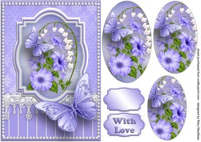 Lavender Flowers, Lace and Butterflies